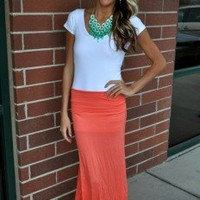 Fields of Flowers Solid Maxi Skirt CORAL - Modern Vintage Boutique