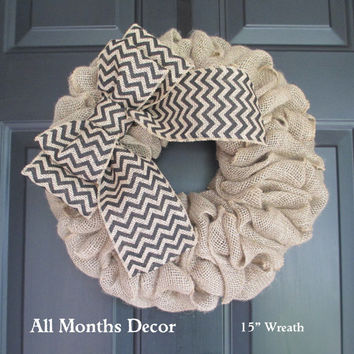 Rustic Natural Burlap Wreath with Black Chevron Bow, Country, Spring Easter Fall Winter, Year Round, Fall, Porch Door Decor