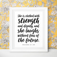 Inspirational Quote Mothers Day From Husband Gift Women She is Clothed in Strength Bible Verse Printable Proverbs 31 25 Digital Download