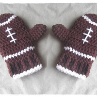 Crochet Football Mittens - Children's Size