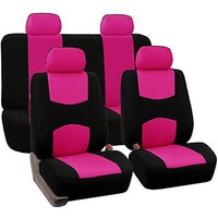 FH-FB050114 Flat Cloth Car Seat Covers Pink / Black Color