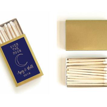 One Hundred (100) Customized Over the Moon Wedding Matchboxes - Pretty Wedding Match Favors - Starry Night Wedding - Light a Celestial Spark