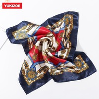 YUKIZOE  Small Square Hair Scarf Women Neck Hotel Waiter Flight Attendants Business Imitate Bandana Silk Bag Scarves 50*50CM