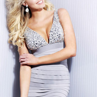 Well-Made V-Neck Tiered Mini Length Zipper Cocktail Dress with Rhinestones