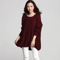 Super Plus Size Women White/ Wine Red Pullovers Sweaters = 1945949124