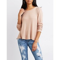 Waffle Knit Open-Back Top | Charlotte Russe