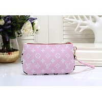 Samplefine2 LV Louis Vuitton Newest Trending Women Leather Handbag Wrist Bag Cosmetic Bag Purse Wallet Pink