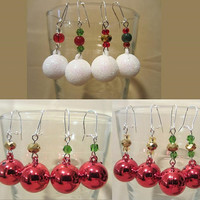 Handmade Fancy Red or White Christmas Ornament Beaded Dangle Earrings, Holiday Jewelry, Festive, Fashion Jewelry, Sparkle, Ornaments, Simple