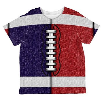 Fantasy Football Team Navy and Red All Over Toddler T Shirt