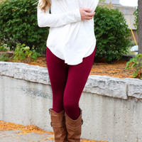 Legs For Days Leggings - Burgundy