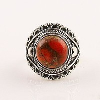 Orange Copper Turquoise Sterling Silver Artisan Ring