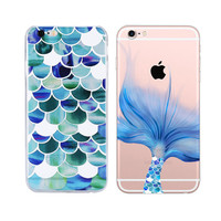 Fashion Mermaid Scales Ultra Thin Soft Tpu Phone Case Coque For Apple Iphone 6 6s Plus Rubber Funda Cover+Nice Gift Box !