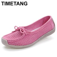 TIMETANG Suede leather moccasins women shoes lace-up genuine leather flats shoes footwear cutout summer spring driving shoes