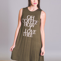 Oh Coffee How I Love Thee Graphic Dress (Olive)