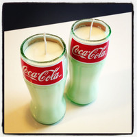 Hand Poured Cola Scented Soy Candle in Cut Coca-Cola Glass Bottles