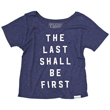 Last Shall Be First Navy Speckled Women's Flowy Tee