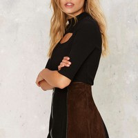 After Party Vintage New World Border Suede Skirt
