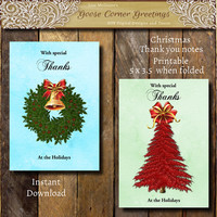 Christmas Thank you Note set, Folded Thank you card, Holiday Thank you notes, thank you notes, thank you stationary, Blank Thank you card