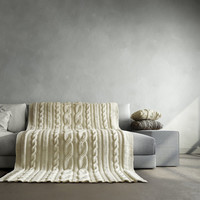 Milky white cable knit blanket. It fits perfect for bed and couch. Will be made to order.