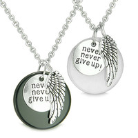 """Angel Wing Inspirational """"Never Never Give Up"""" Love Couple Yin Yang Powers Pendant Necklaces"""