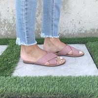 Slide On Cross Over Sandals In Pink