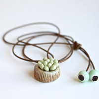 Handmade Ceramic Succulent Plant Pendant Necklace with Adjustable Woven String. Gift for Nature Lover, Green Lover. Natural Fresh Style.
