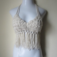 Ivory halter top, Crochet fringe top, festival top, cropped top, halter top, FESTIVAL CLOTHING, burning man, EDC, clubwear,