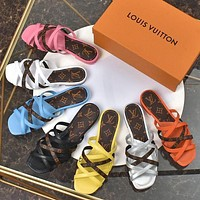LV Louis Vuitton new product stitching color printing hollow cross strap ladies beach sandals slippers Shoes
