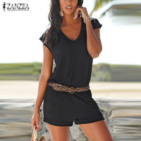 Rompers Women Jumpsuits 2016 Summer ZANZEA Sexy Short Sleeve V Neck Solid Playsuits Casual Beach Short Mini Overalls Plus Size