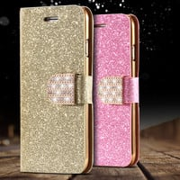 i6/6S/Plus Stand Wallet Cover Fashion Bling Glitter Diamond PU Leather Phone Case For iPhone 6 4.7/6S For iPhone 6 Plus/ 6S Plus