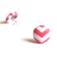 Chevron Pink Print Fabric Covered Button Earrings