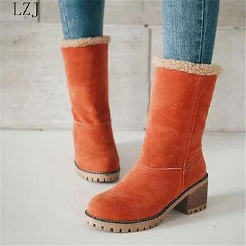 Women Winter Fur Warm Snow Boots Ladies Warm Wool Booties Ankle Boot Comfortable Shoes Casual Women Mid Boots