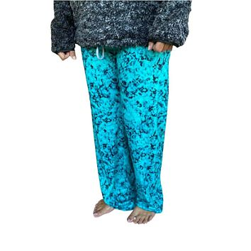 Turquoise Marbled Wide Leg Lounge Pants