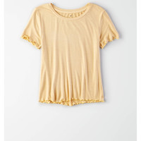 AE Soft & Sexy Lettuce Hem T-Shirt, Yellow