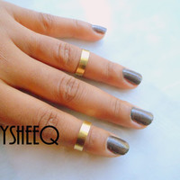 Gold Smooth Band Knuckle Ring, Adjustable Finger Ring, Stackable rings, Edgysheeq statement rings for everyday Flair