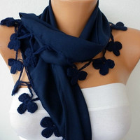 Pashmina  Scarf  - Cotton Scarf - Headband - Cowl with Lace  -Navy Blue