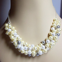 Yellow Gray and White Pearl Cluster Necklace, Summer Jewelry, Mom Sister Grandmother Bridesmaid Jewelry, Cocktail, Party, Pretty