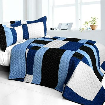 [Deep Thought] Brand New Vermicelli-Quilted Patchwork Quilt Set Full/Queen
