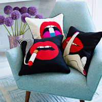 LIPS HUSH NEEDLEPOINT THROW PILLOW