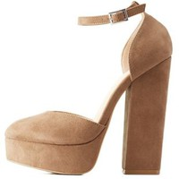 Taupe Chunky Platform Heels by Charlotte Russe