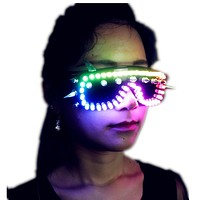 Full Color LED Luminous Glasses Can Change 7 Colors Flashing Halloween Party Mask Light Up Eyewear For DJ Club Stage Show