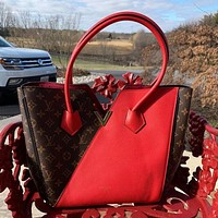 Louis Vuitton LV Hot Selling Classic Personalized Two-color Leather Stitching Tote Bag Handbag Fashion Ladies Shoulder Bag