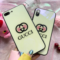 GUCCI & Pig Peggy New stylish tempered glass drop phone case White