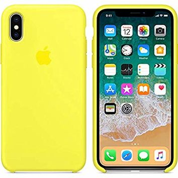 iPhone X Silicone Case, Liquid Silicone Gel Rubber Shockproof Case and Ultra Soft Microfiber Cloth Lining Cushion for Apple iPhone X/10 (Lemonade)