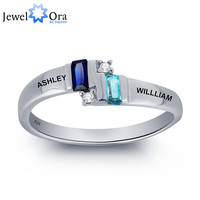 Personalized Engrave  Couple Name Ring 925 Sterling Silver Love Promise Ring Best Gift (JewelOra RI101805)