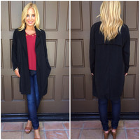 Rain Or Shine Open Front Trench Coat - BLACK