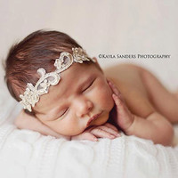 Aphrodite - White Cream Ivory Gold OR Silver - You CHOOSE - Halo Headband Crown - Pearls - Girls Newborns Baby Infant Adults - Photo Prop