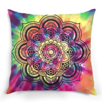 Tie Dye Mandala Lotus Pillow