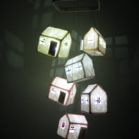 HANGING ART MOBILE -  Houses / Led Night Light Lanterns (with remote control), unique soft hanging feature for your home