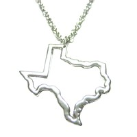Texas State Outline Map Pendant Necklace